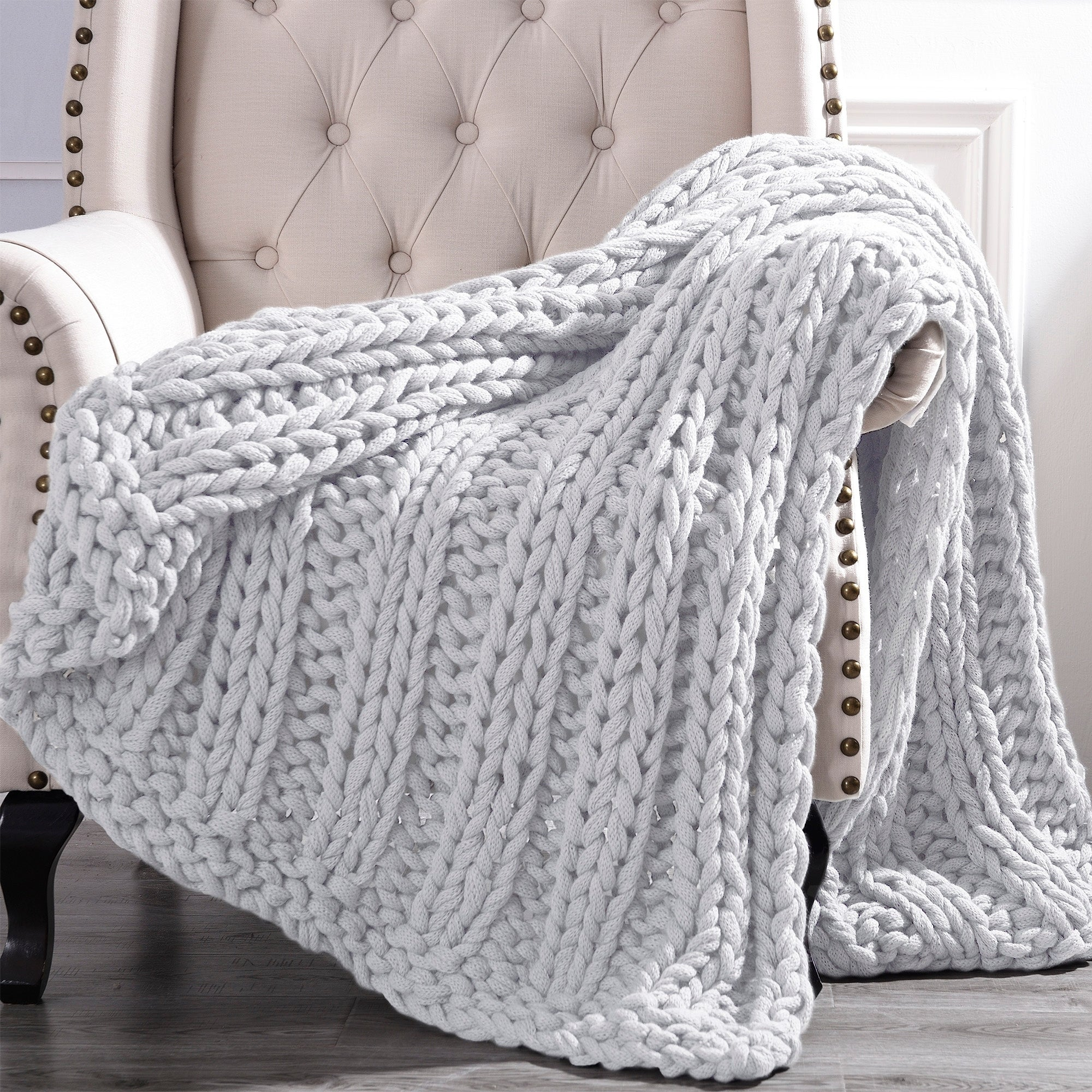 Amrapur Overseas Luxury Chunky Knit Acrylic Bed Sofa Throw
