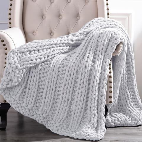 Modern Threads Luxury Chunky Knit Acrylic Bed Sofa Throw