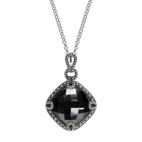 "MARC Sterling Silver Hematite & Marcasite Boutique Pendant 18"""