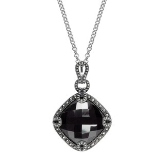 "MARC Sterling Silver Hematite & Marcasite Boutique Pendant in 18"" chain"