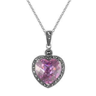 "MARC Sterling Silver Pink CZ & Marcasite Heart Pendant in 18"" chain"