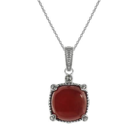 "MARC Sterling Silver Red Agate & Marcasite Classic Pendant 18"" chain"