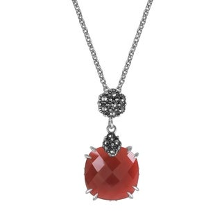 "MARC Sterling Silver Red Agate & Marcasite Cushion Pendant in 18"" chain"