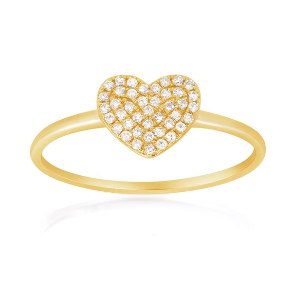 14KT Gold Pave Heart Diamond Ring. Opens flyout.