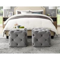Chad Velvet or Linen Ottoman - Square / Modern / Allover Tufted Design