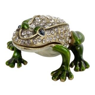 Jeweled Frog Figurine Box