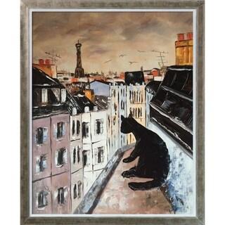 Atelier De Jiel 'Black Cat on Roofs of Paris' Hand Painted Oil Reproduction