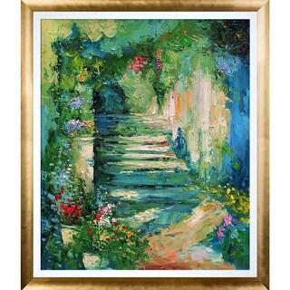 Alex Bertaina 'Escalier Fleuri' Hand Painted Oil Reproduction