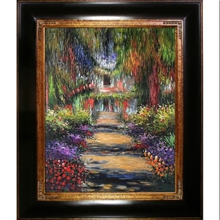 Claude Monet 'Garden Path at Giverny' Hand Painted Oil Reproduction