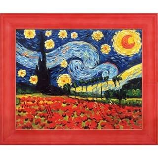 La Pastiche Original 'Starry Poppy Collage' Hand Painted Oil Reproduction