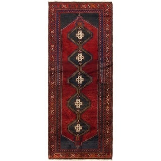 Hand Knotted Hamedan Semi Antique Wool Runner Rug - 3' 5 x 9' 2