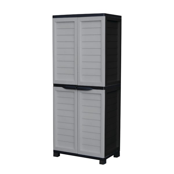Cabinet with Vertical Partition & 4 shelves, Silver/Black. Opens flyout.