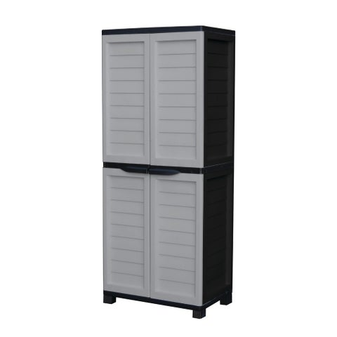 Cabinet with Vertical Partition & 4 shelves, Silver/Black