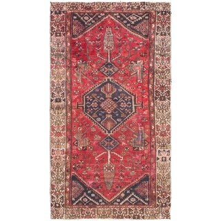 Hand Knotted Hamedan Semi Antique Wool Area Rug - 3' 8 x 6' 7
