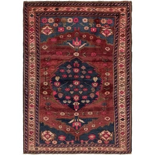Hand Knotted Hamedan Semi Antique Wool Area Rug - 4' 8 x 6' 9