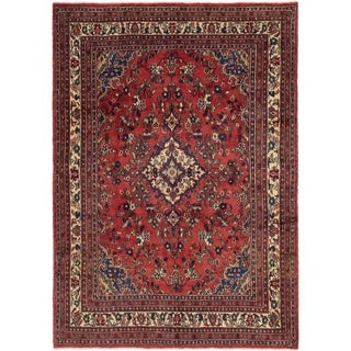Hand Knotted Hamedan Semi Antique Wool Area Rug - 7' 4 x 10' 2