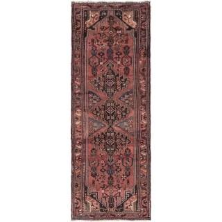 Hand Knotted Hamedan Semi Antique Wool Runner Rug - 3' 5 x 9' 8