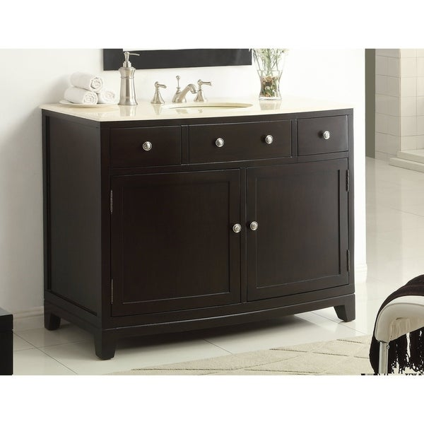 "46"" Benton Collection Septima Brown Modern Bathroom Vanity"