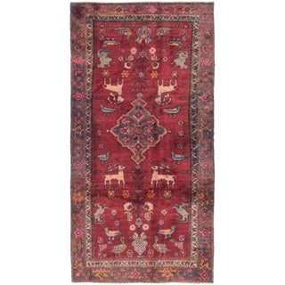 Hand Knotted Hamedan Semi Antique Wool Runner Rug - 4' 2 x 8' 10
