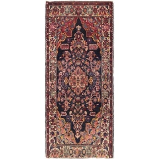 Hand Knotted Hamedan Semi Antique Wool Runner Rug - 3' 8 x 9' 9