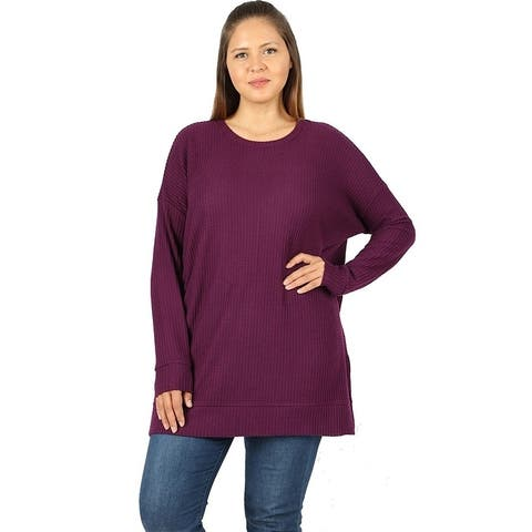 JED Women's Plus Size Round Neck Brushed Waffle Knit Thermal Tunic Top