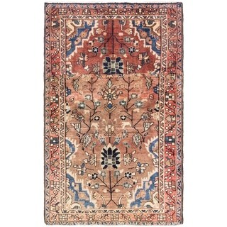 Hand Knotted Hamedan Semi Antique Wool Area Rug - 3' 7 x 5' 9