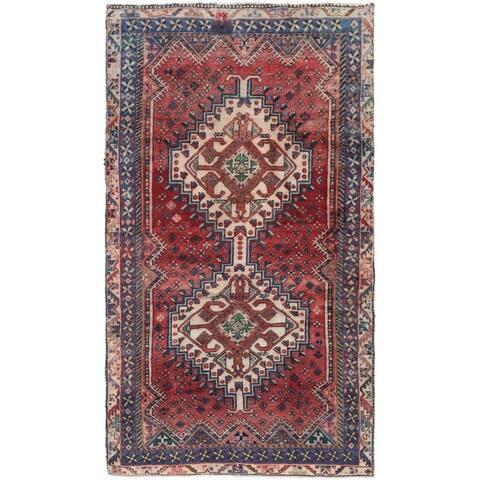 Handmade Hamedan Semi Antique Wool Area Rug - 5' x 9'