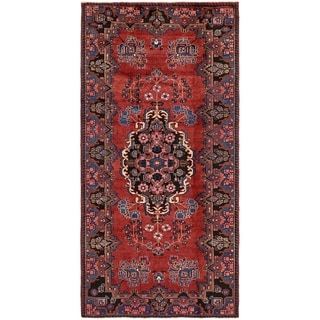 Hand Knotted Hamedan Semi Antique Wool Area Rug - 5' x 10'