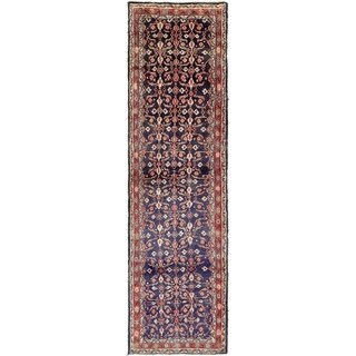 Hand Knotted Hamedan Semi Antique Wool Runner Rug - 3' 8 x 12' 10