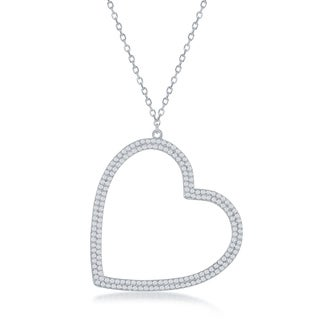 La Preciosa Sterling Silver or Rose Gold High Polish Large Micro Pave Open Heart 16+2'' Necklace