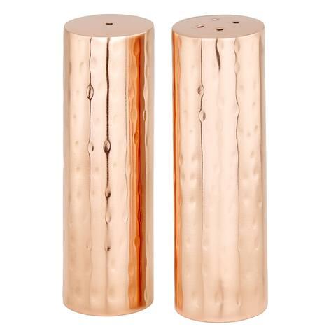 Hammered Copper Cylindrical Salt & Pepper Shaker Set