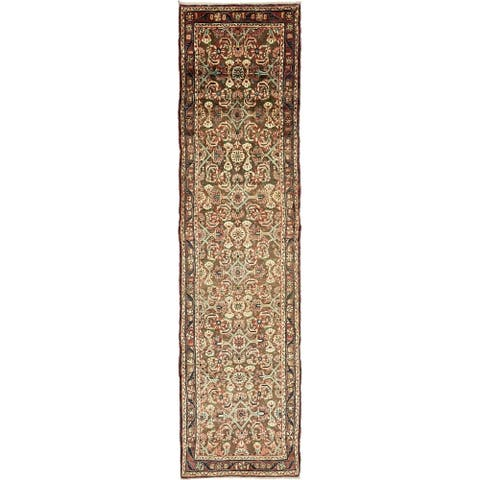Hand Knotted Hamedan Semi Antique Wool Runner Rug - 3' 5 x 13' 10