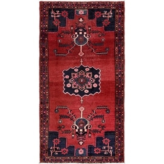 Hand Knotted Hamedan Semi Antique Wool Area Rug - 4' 6 x 8' 6