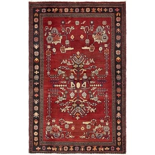 Hand Knotted Hamedan Semi Antique Wool Area Rug - 4' 5 x 7'