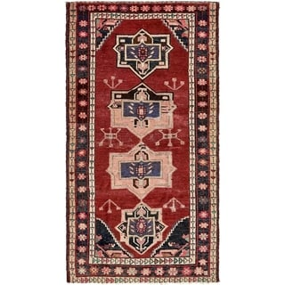 Hand Knotted Hamedan Semi Antique Wool Area Rug - 4' 4 x 7' 5