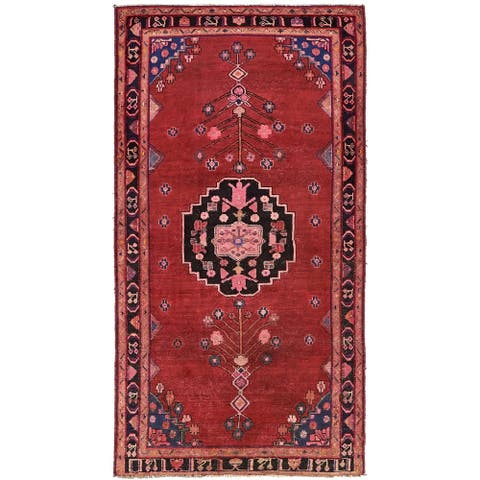 Hand Knotted Hamedan Antique Wool Area Rug - 4' 8 x 9' 1