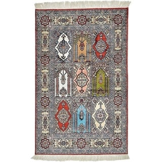Hand Knotted Hereke Silk Area Rug - 2' 6 x 4'