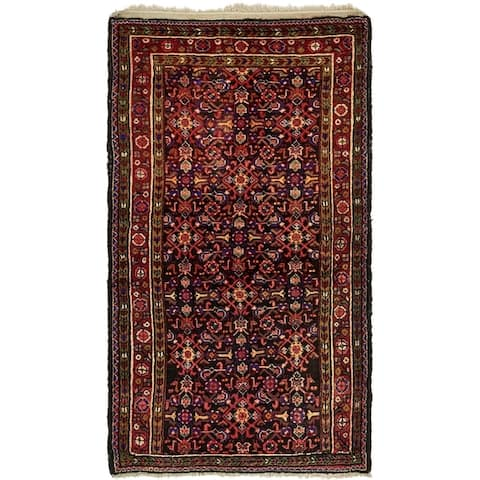 Hand Knotted Hamedan Semi Antique Wool Area Rug - 3' 9 x 6' 7