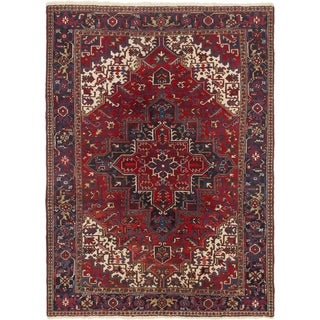 Hand Knotted Heriz Semi Antique Wool Area Rug - 7' 9 x 10' 5