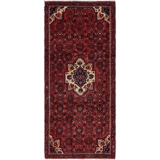 Hand Knotted Hossainabad Semi Antique Wool Runner Rug - 4' x 9'