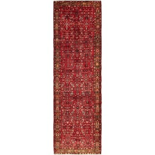 Hand Knotted Hossainabad Semi Antique Wool Runner Rug - 4' x 13' 8