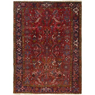 Hand Knotted Heriz Semi Antique Wool Area Rug - 7' 7 x 9' 9