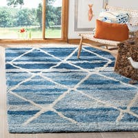 Safavieh Handmade Casablanca Shag Southwestern - Blue / Ivory Wool Rug - 8' x 10'