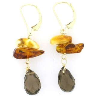 Pearl Lustre 14 k Yellow Gold Natural Shape Amber and Smokey Quartz Earrings - N/A