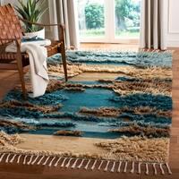 Safavieh Handmade Kenya Southwestern Blue / Beige Wool Rug - 9' x 12'