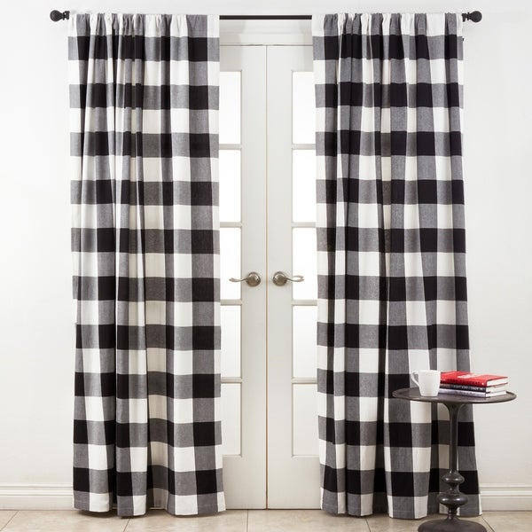 Shop Cotton Buffalo Plaid Curtain Panel On Sale Free