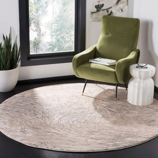 """Safavieh Meadow Modern & Contemporary Abstract - Ivory / Grey Rug - 6'7"""" x 6'7"""" round"""