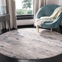 "Safavieh Meadow Modern & Contemporary Abstract - Grey / Navy Rug - 6'7"" x 6'7"" round"