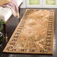 "Safavieh Handmade Persian Legend Traditional Oriental - Light Green / Black Wool Rug - 2'3"" x 6'"