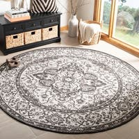 "Safavieh Linden Transitional Geometric - Light Grey / Charcoal Rug - 6'7"" x 6'7"" round"